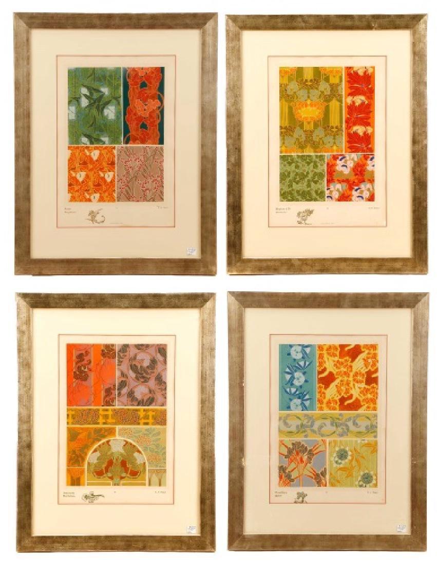 Four Art Nouveau Eugene A. Seguy Pochoir Prints