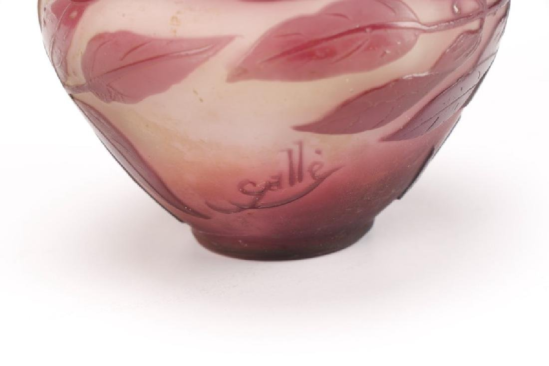 Diminutive Galle Cameo Glass Vase, Signed - 6