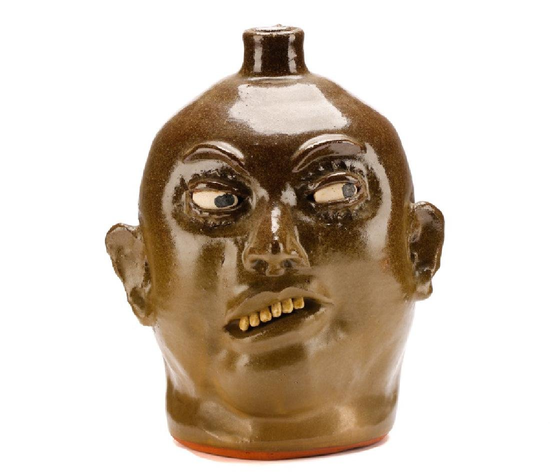 Lanier Meaders Face Jug, Six Teeth, Signed