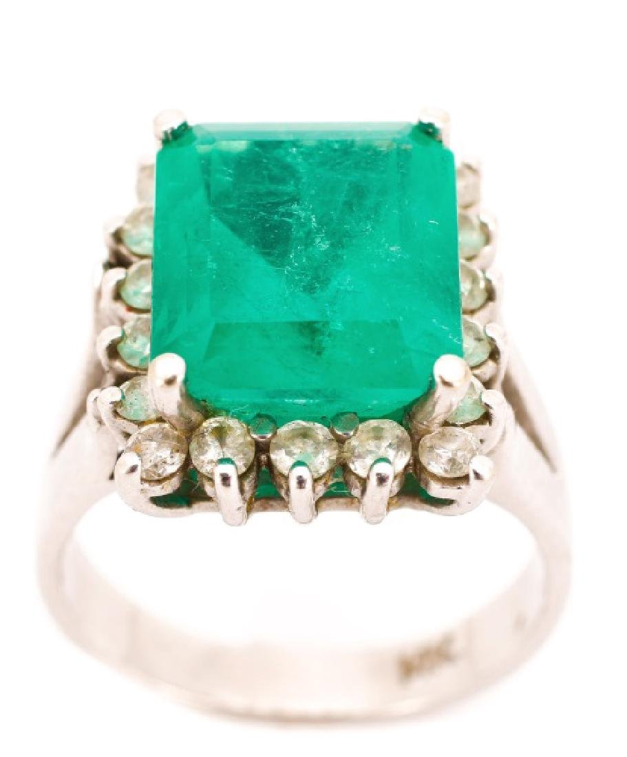14k White Gold, Emerald & Diamond Ring, 5.9 Carat