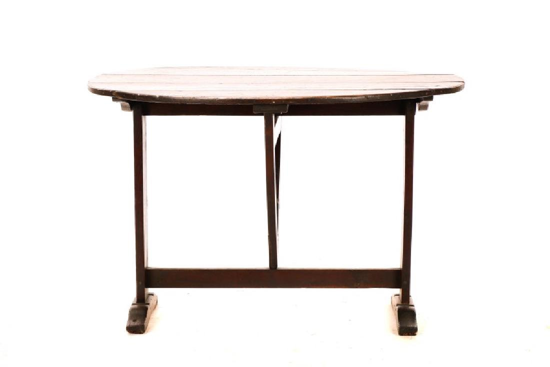 Stained Oak Wine Tasting Tilt Top Table - 3