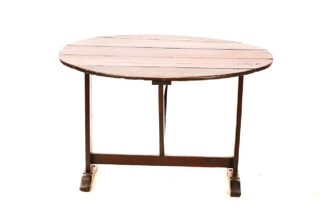 Stained Oak Wine Tasting Tilt Top Table - 4
