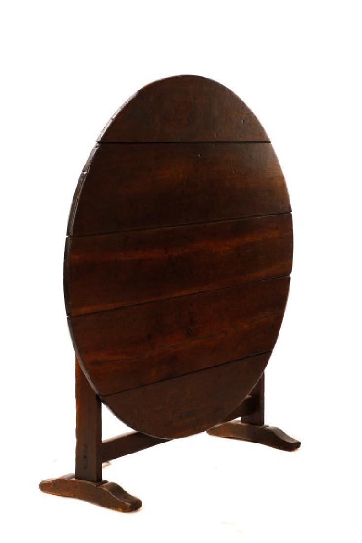 Stained Oak Wine Tasting Tilt Top Table - 5