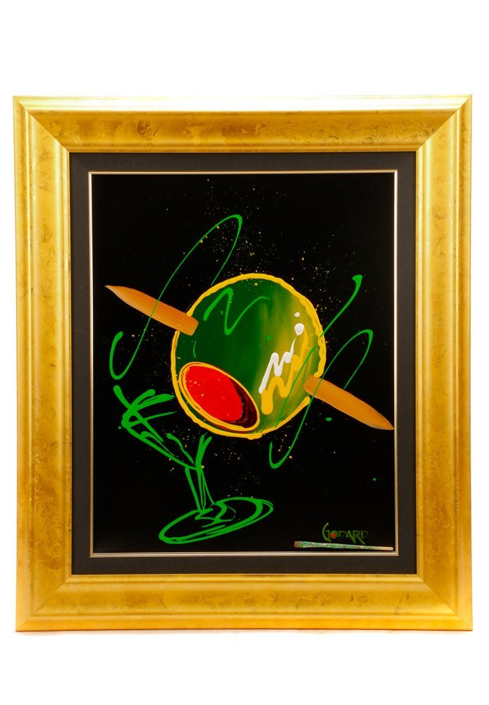 Michael Godard, Martini with Olive, Signed Acrylic