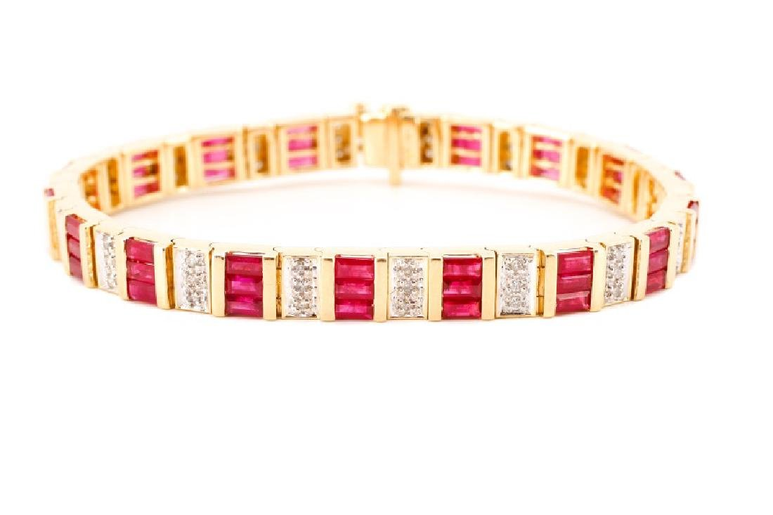 14k Yellow Gold, Syn. Ruby, & Diamond Bracelet