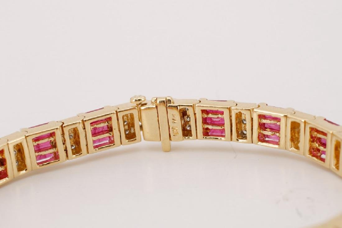 14k Yellow Gold, Syn. Ruby, & Diamond Bracelet - 3