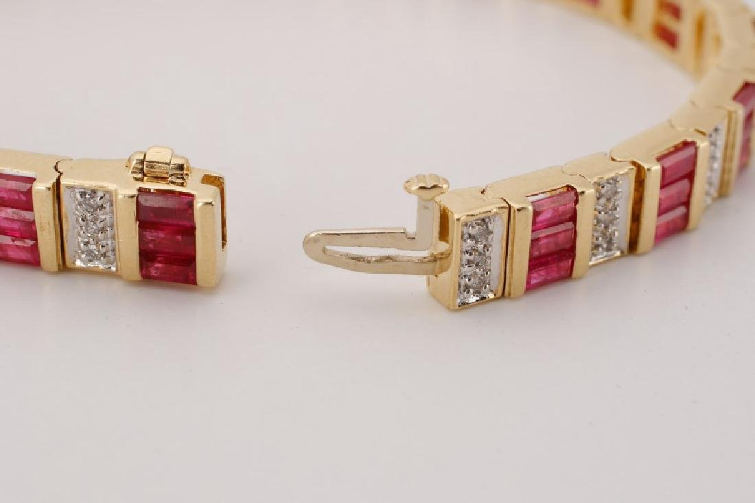 14k Yellow Gold, Syn. Ruby, & Diamond Bracelet - 4