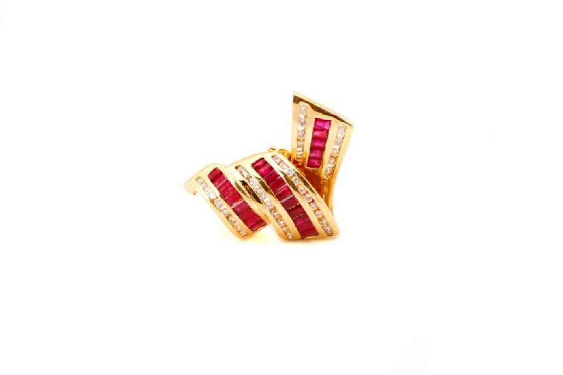14k Yellow Gold, Ruby & Diamond Ribbon Pendant