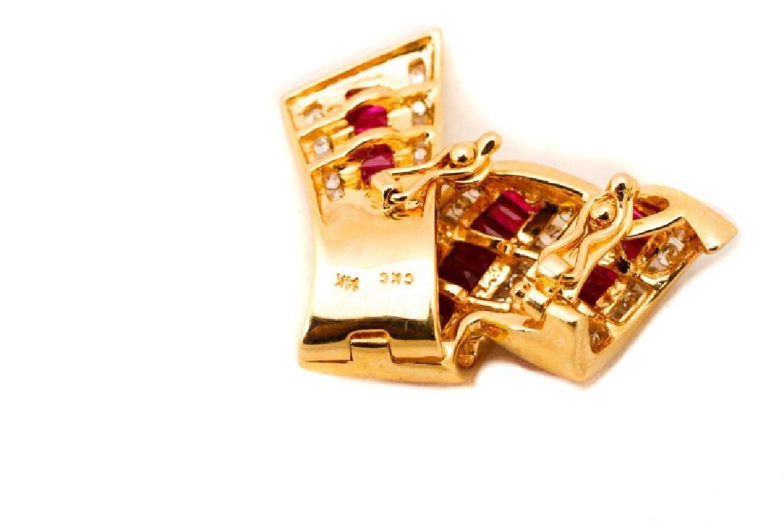 14k Yellow Gold, Ruby & Diamond Ribbon Pendant - 2
