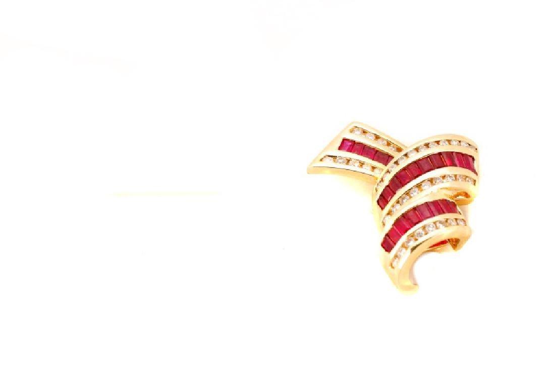 14k Yellow Gold, Ruby & Diamond Ribbon Pendant - 3