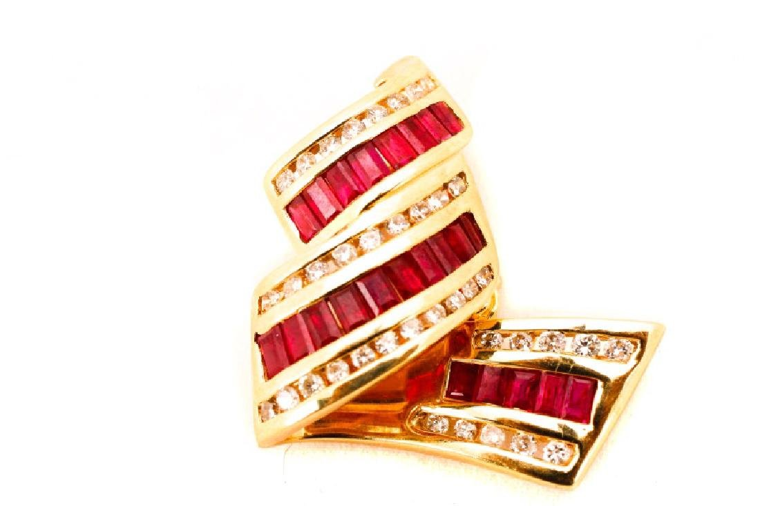 14k Yellow Gold, Ruby & Diamond Ribbon Pendant - 4