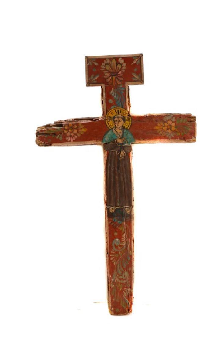 Polychromed Wood Santos Cross, Signed