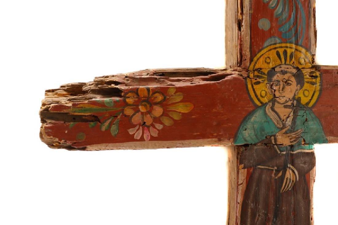 Polychromed Wood Santos Cross, Signed - 2