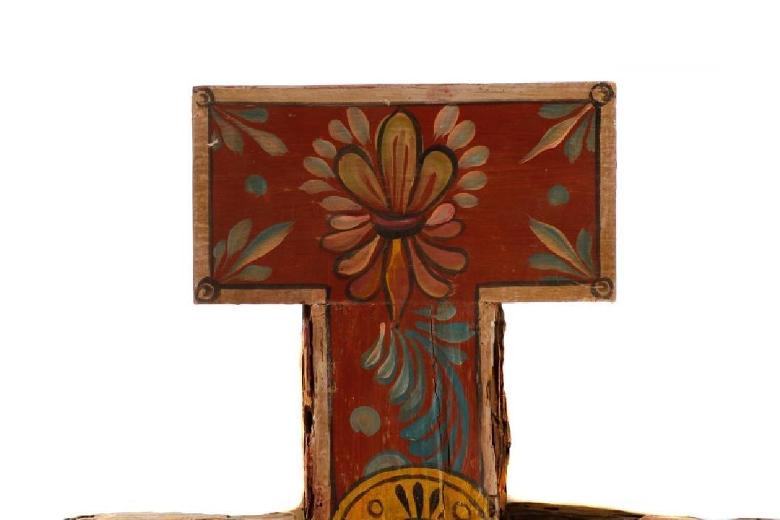 Polychromed Wood Santos Cross, Signed - 4