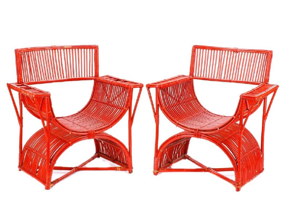 Pair, Art Deco Curule Form Rattan Chairs