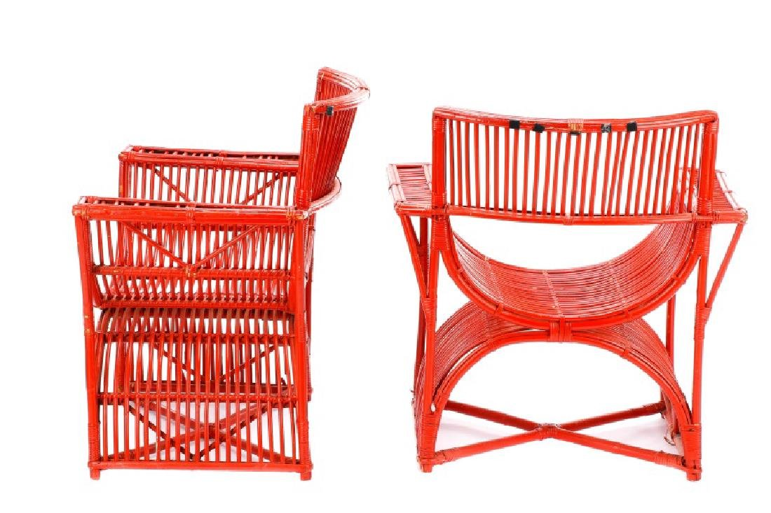 Pair, Art Deco Curule Form Rattan Chairs - 6