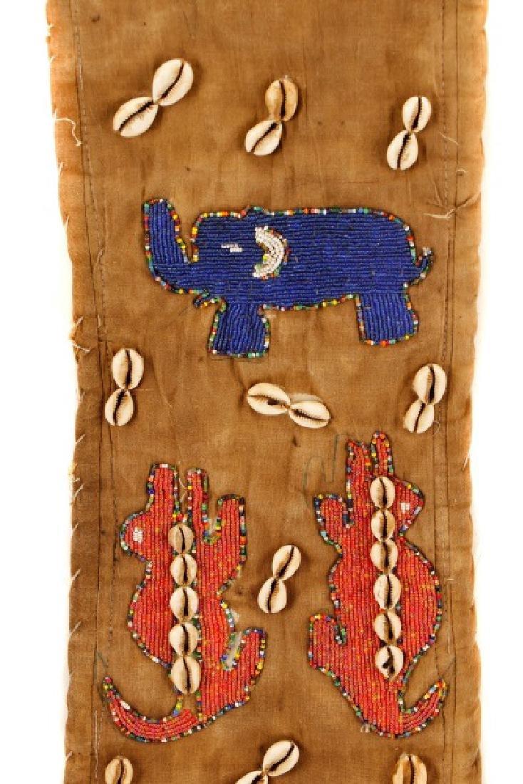 "African Beaded Textile 'Elephant"" Mask - 12"