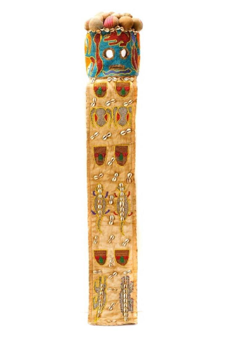 "African Beaded Textile 'Elephant"" Mask"