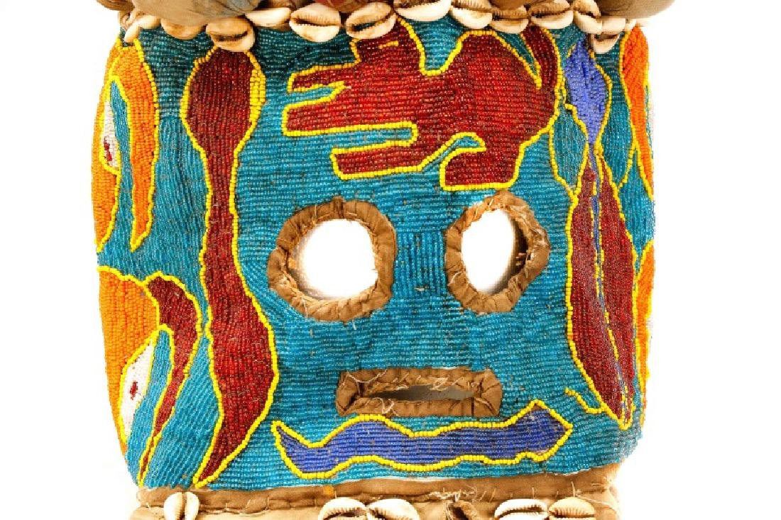 "African Beaded Textile 'Elephant"" Mask - 2"