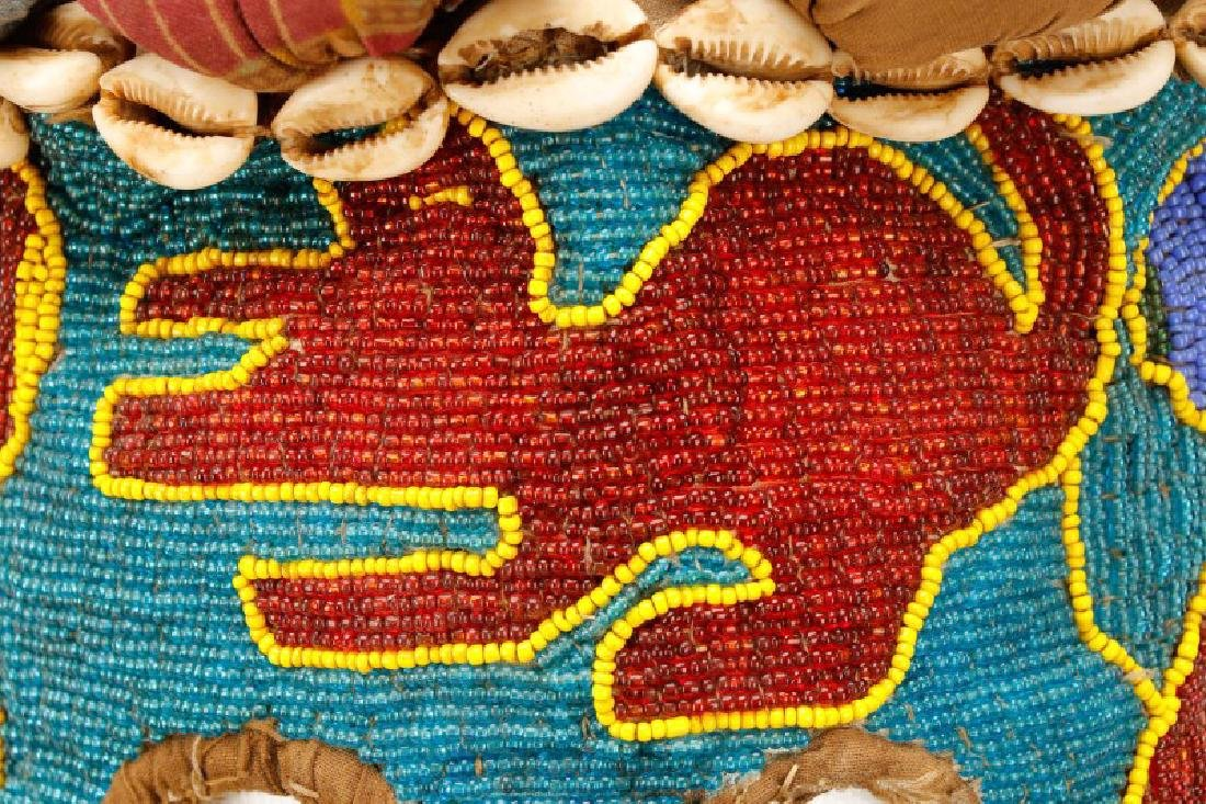 "African Beaded Textile 'Elephant"" Mask - 8"