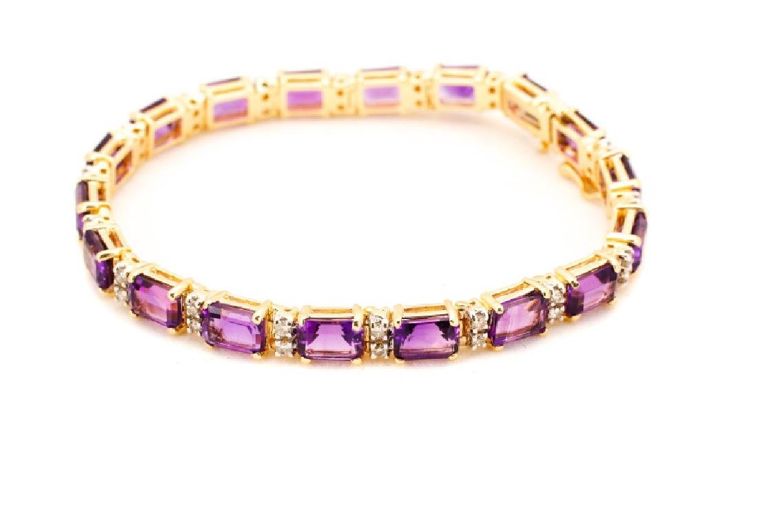 14k Yellow Gold, Amethyst, & Diamond Bracelet