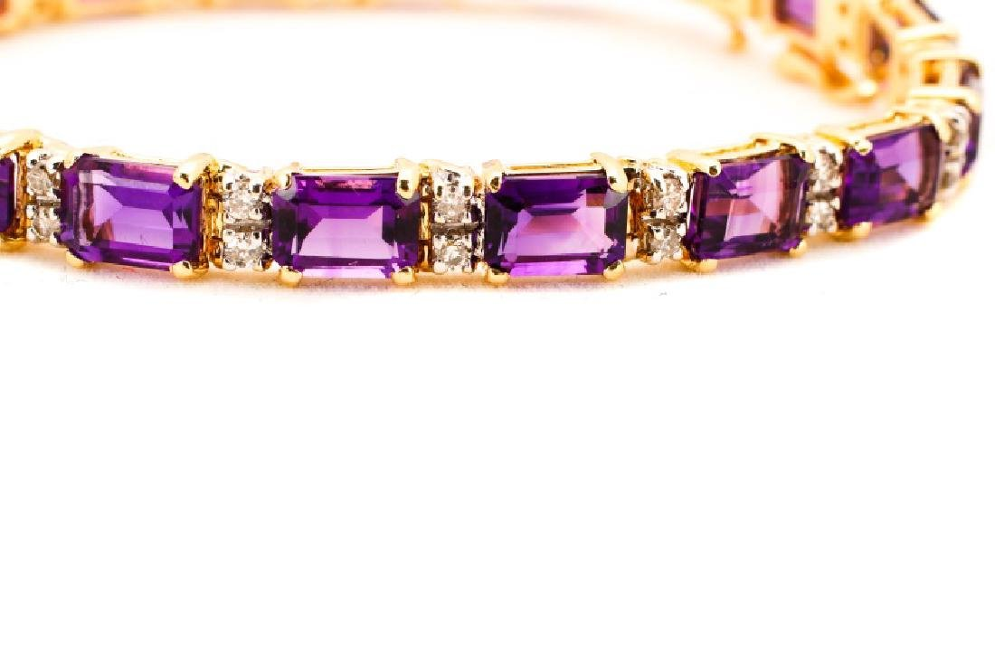 14k Yellow Gold, Amethyst, & Diamond Bracelet - 2