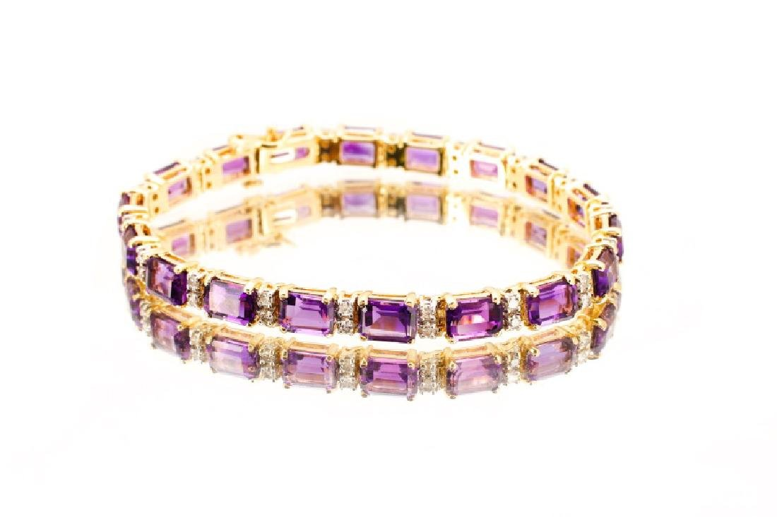 14k Yellow Gold, Amethyst, & Diamond Bracelet - 3
