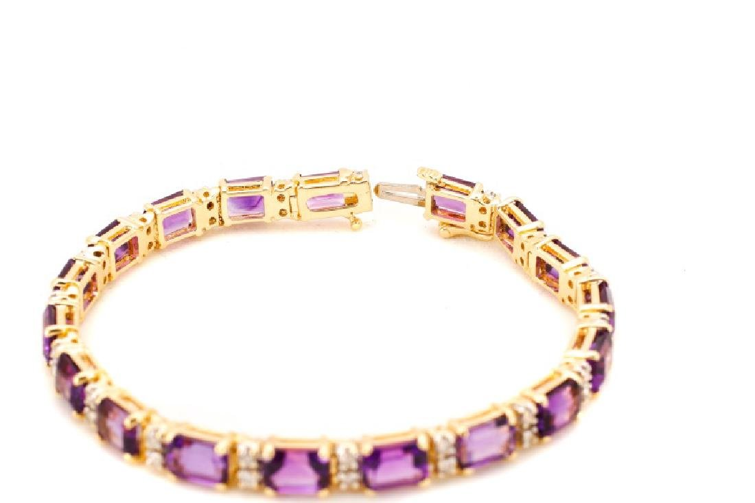 14k Yellow Gold, Amethyst, & Diamond Bracelet - 5