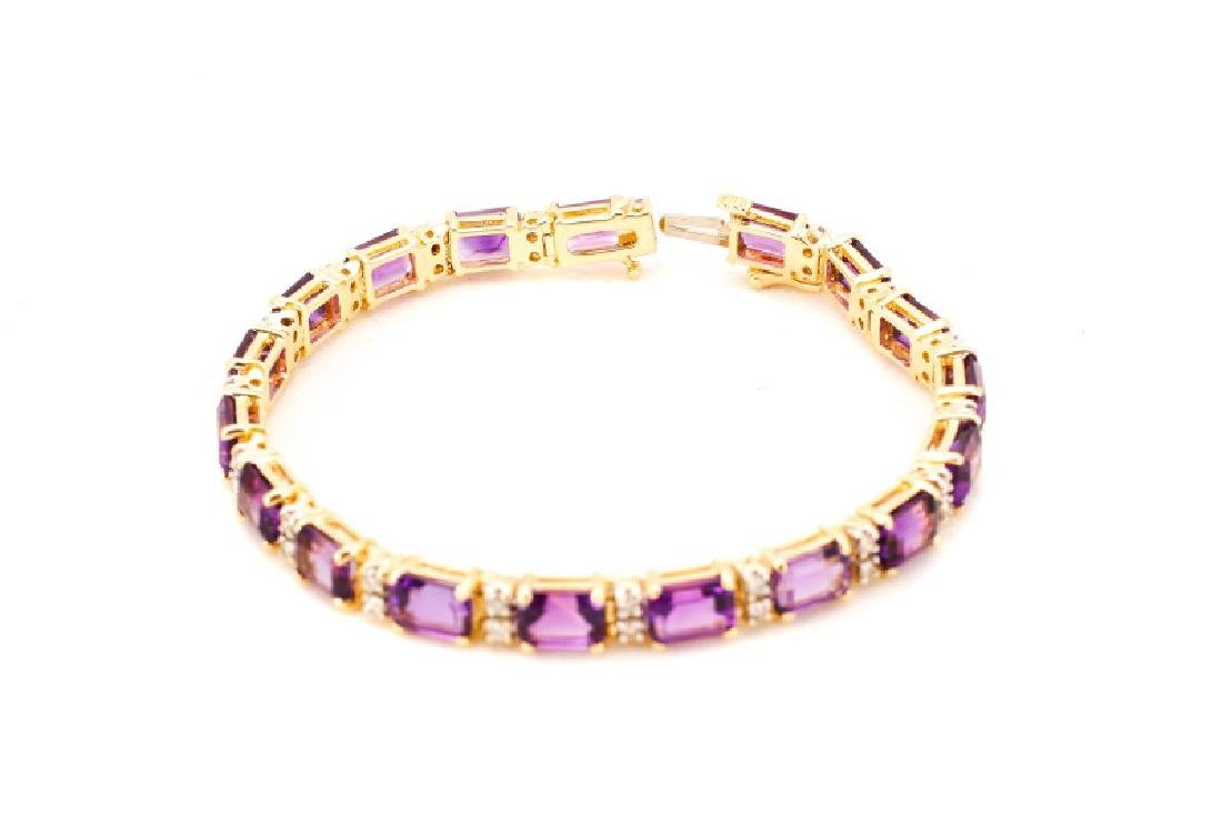 14k Yellow Gold, Amethyst, & Diamond Bracelet - 6