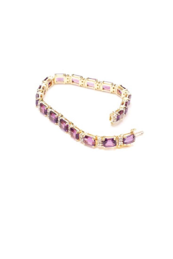 14k Yellow Gold, Amethyst, & Diamond Bracelet - 7