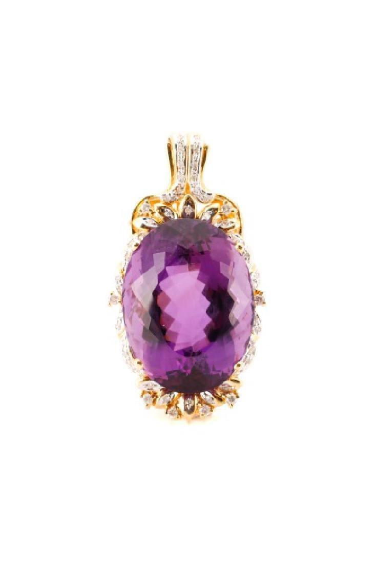 14k Gold, Amethyst, & Diamond Necklace Pendant
