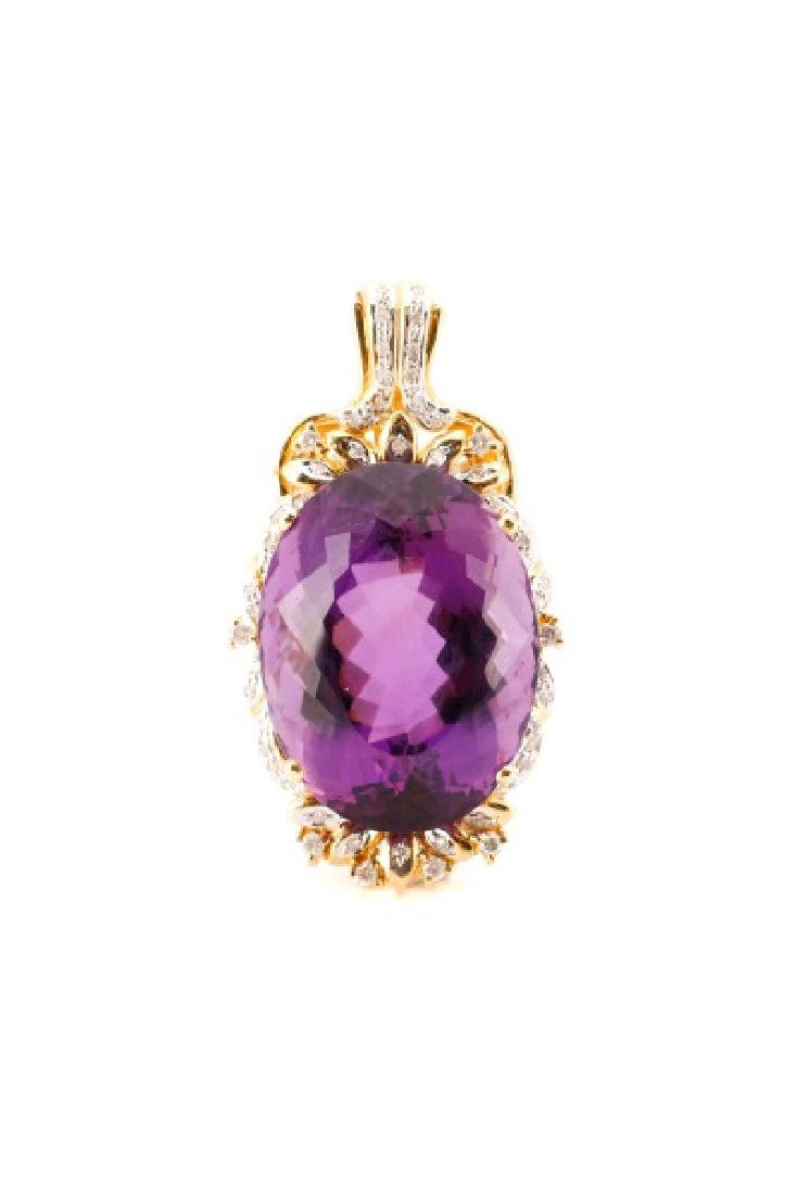14k Gold, Amethyst, & Diamond Necklace Pendant - 2