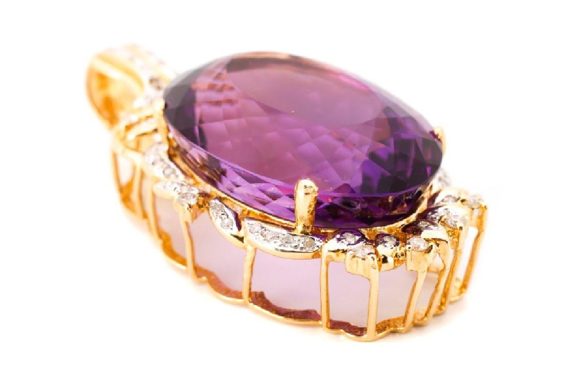14k Gold, Amethyst, & Diamond Necklace Pendant - 3