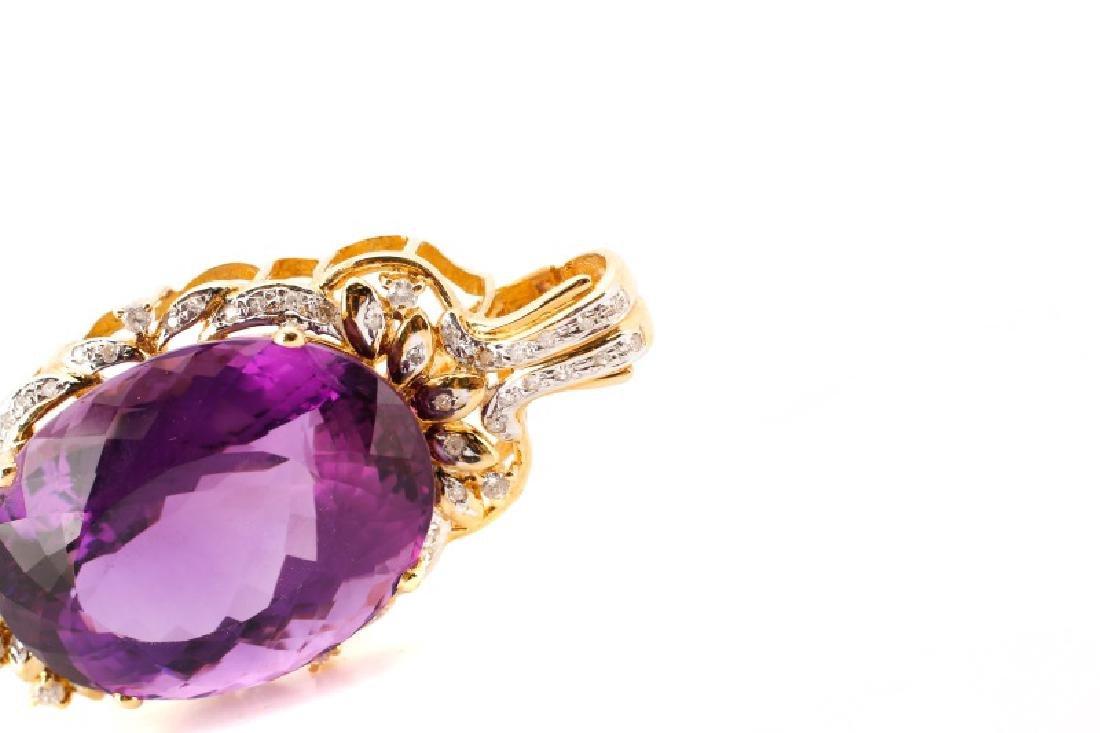 14k Gold, Amethyst, & Diamond Necklace Pendant - 4
