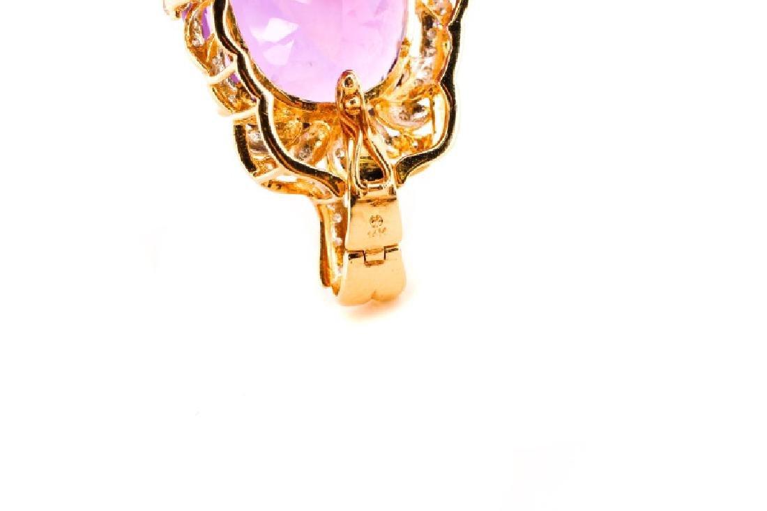 14k Gold, Amethyst, & Diamond Necklace Pendant - 6