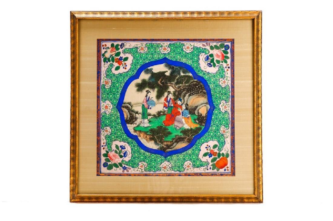 Chinese School, Figural Courtly Scene, Gouache