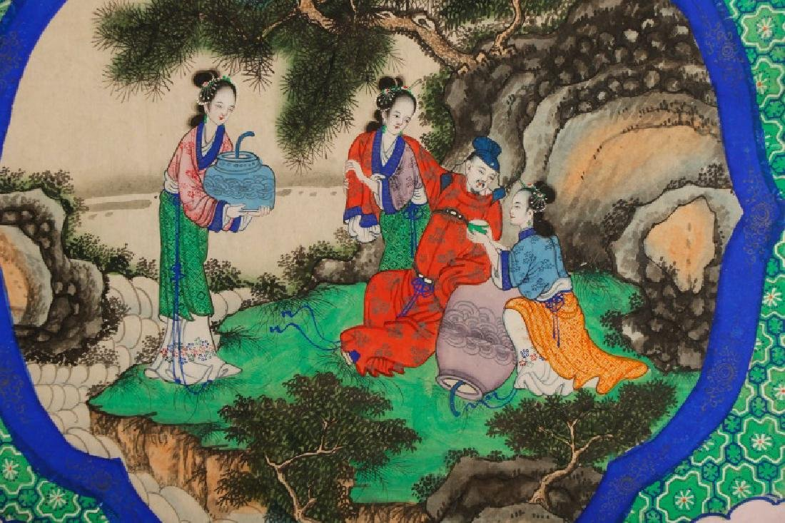 Chinese School, Figural Courtly Scene, Gouache - 7