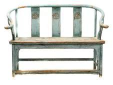 Chinese Paint Decorated Horseshoe Bench