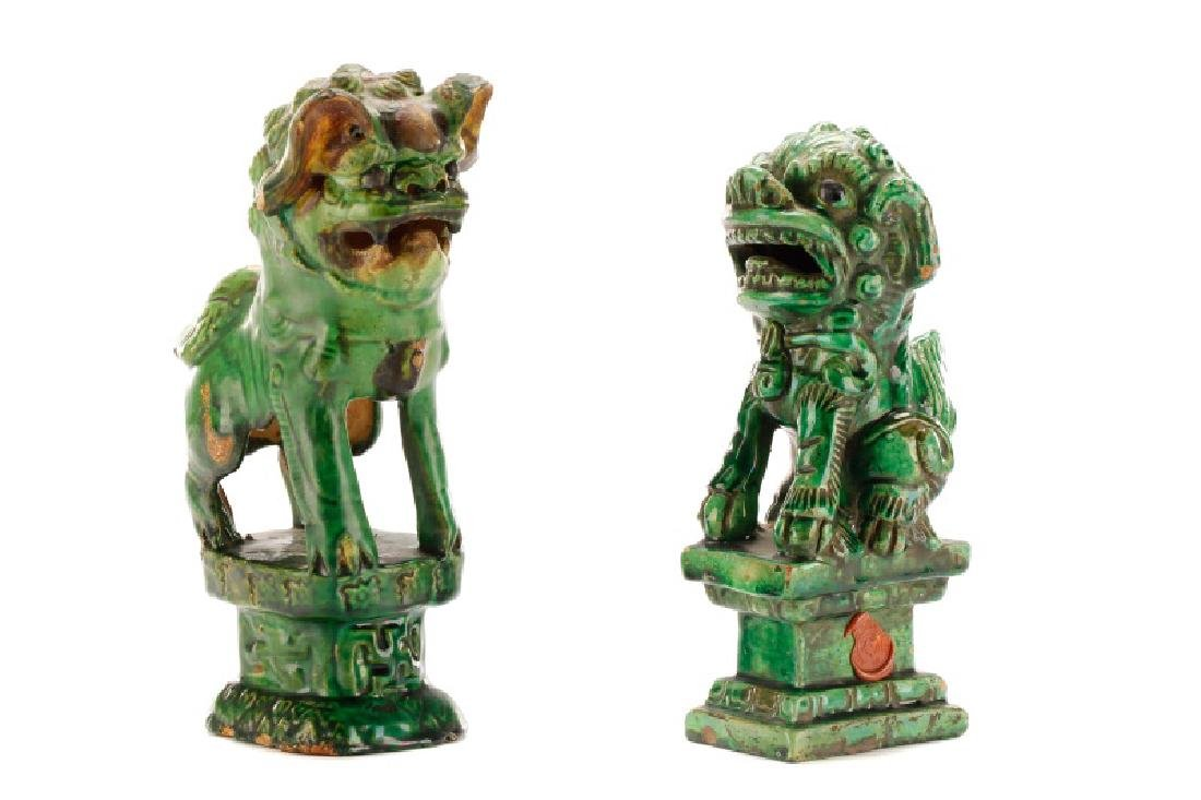 Two Chinese Green Glazed Ceramic Foo Dogs