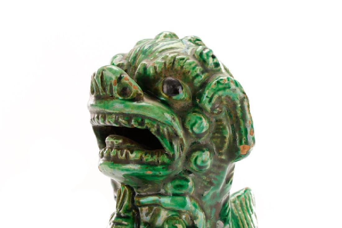 Two Chinese Green Glazed Ceramic Foo Dogs - 3