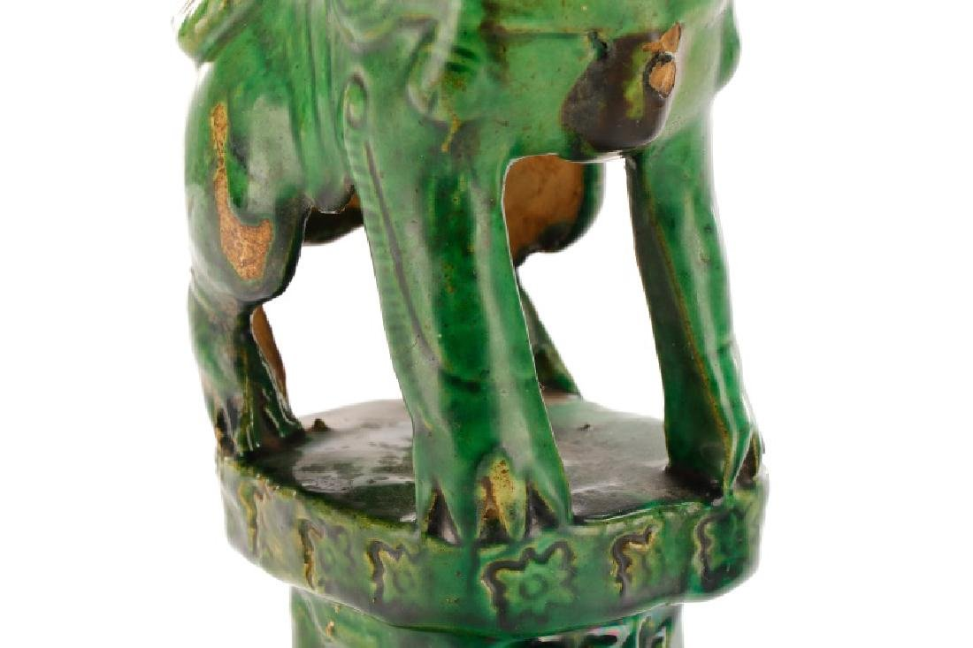 Two Chinese Green Glazed Ceramic Foo Dogs - 4