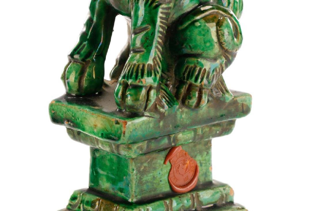 Two Chinese Green Glazed Ceramic Foo Dogs - 5