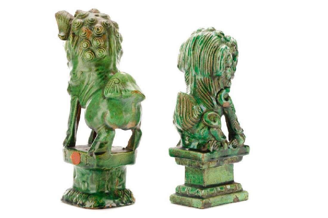 Two Chinese Green Glazed Ceramic Foo Dogs - 8