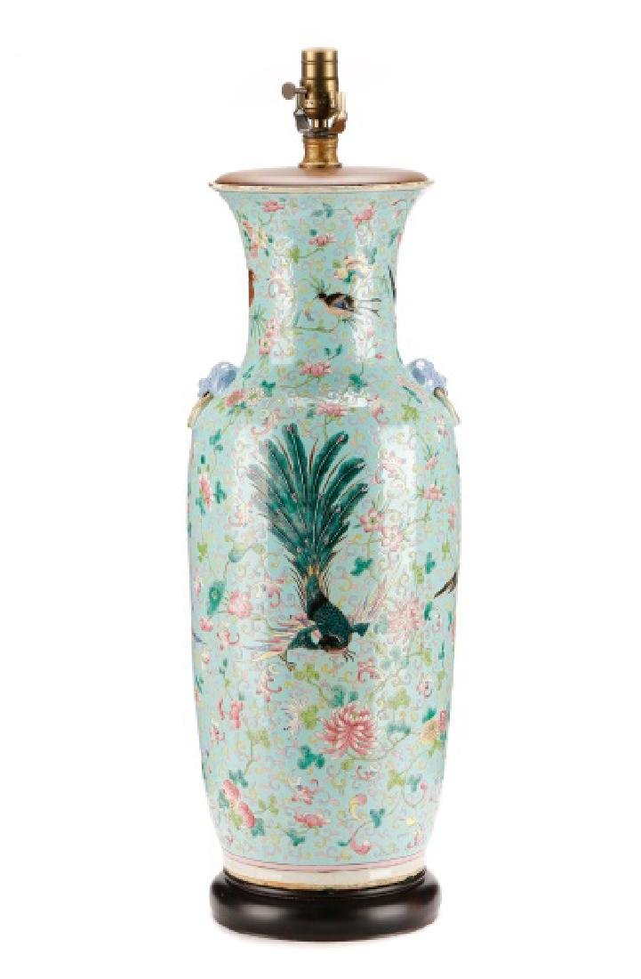 Large Chinese Famille Rose Porcelain Table Lamp