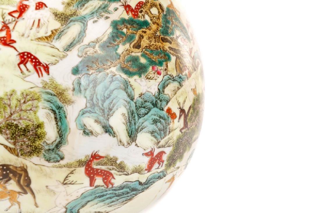 Chinese Porcelain Hundred Deer Hu Vase, Marked - 4