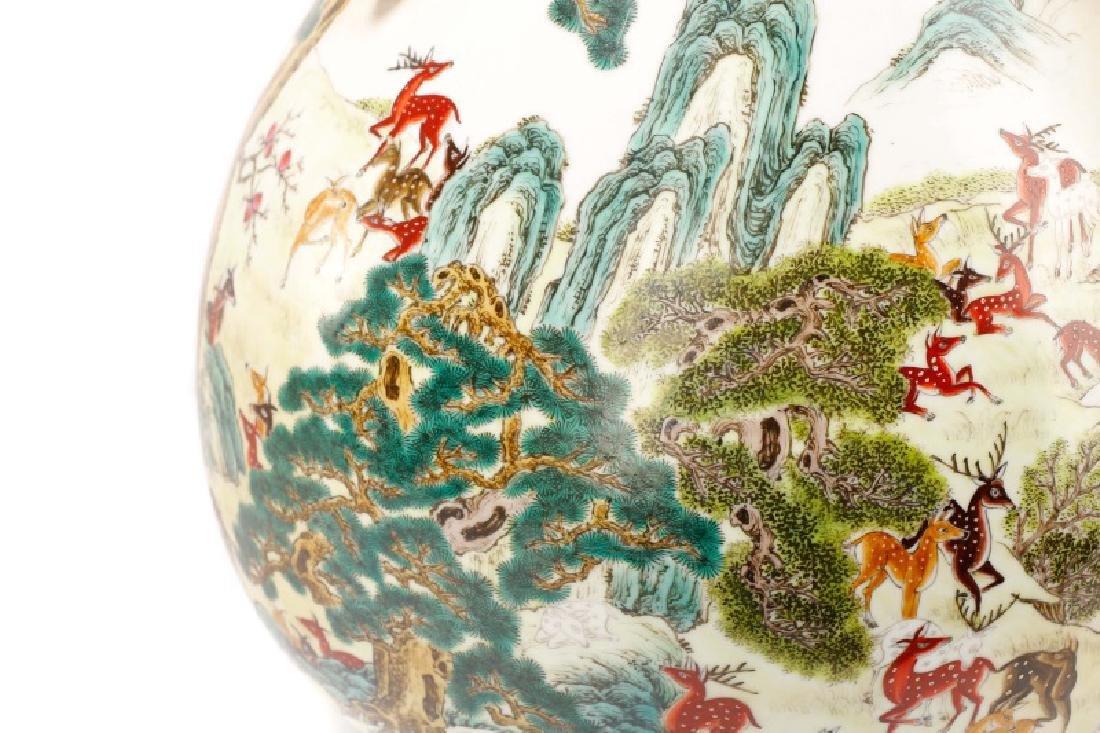 Chinese Porcelain Hundred Deer Hu Vase, Marked - 5