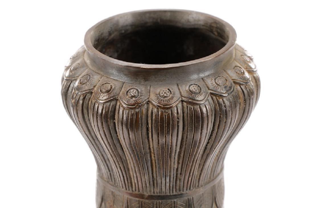 Chinese Lotus Leaf Bronze Vase, Qianlong Mark - 3