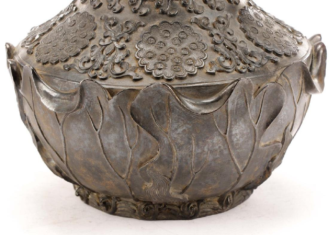 Chinese Lotus Leaf Bronze Vase, Qianlong Mark - 4