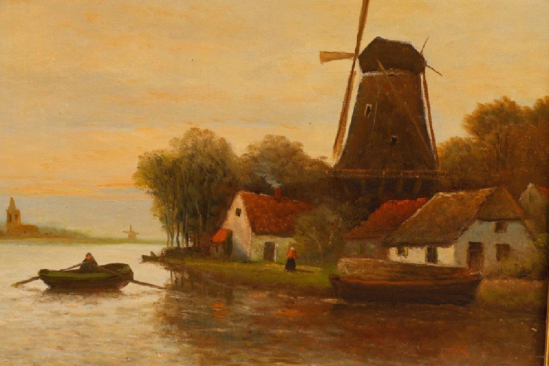 "Hendrik Verhaaf  ""Windmill & Village on Canal"" - 3"