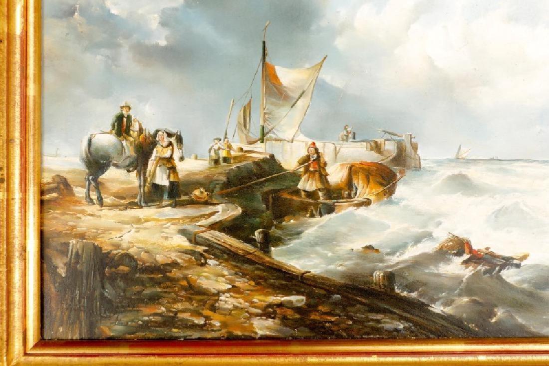 Continental School, Figures on Seaside Dock,  Oil - 3